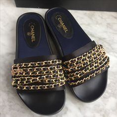 Chanel woman slippers chain flats