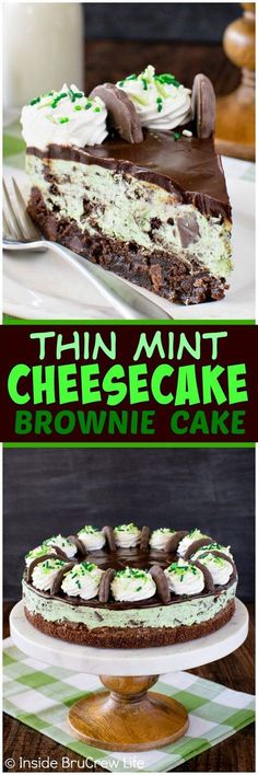 PINTEREST | TESSMEYER5 Thin Mint Cheesecake Brownie Cake - layers of chocolate, no bake mint cookie cheesecake, and chewy mint brownies make this a fun cake to make. Great dessert recipe for any party!