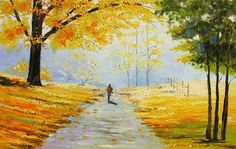 Original Painting Landscape Oil Palette Knife The Gold of Autumn 23x36 Trees Fall Gold Yellow Park Colorful Textured decor ART by Marchella
