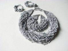 Gray Dew Drops  jewelery set necklace bracelet by GreyHeartOfStone