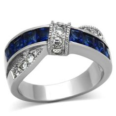 Blue Ribbon – Cross over style blue glass white cubic zirconia stainless steel ring Sapphire Blue Weddings, Blue Sapphire, Givenchy, Dior, Titanium Jewelry, Sapphire Bracelet, Chanel, Morganite Ring, Steel Jewelry