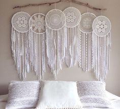 Excited to share the latest addition to my #etsy shop: Massive giant 6 piece hoop pure white crochet dream catcher one of a kind creation, Whimsical Dreamcatcher Photo Backdrop, Wall Mural