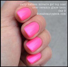 Sally Hansen Miracle Gel top coat over neon