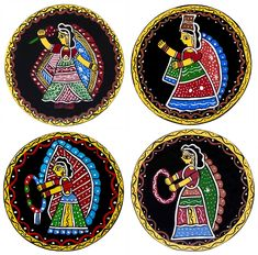 Four Round Table Coasters with Tikuli Painting on Hardboard (Tikuli Painting on Hardboard) Lotus Painting, Mural Painting, Fabric Painting, Pottery Painting, Indian Traditional Paintings, Indian Art Paintings, Madhubani Art, Madhubani Painting, Rajasthani Art