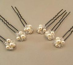 Hair Jewelry Wedding Hair Accessories, Pearl and Crystal Hairpins, Jeweled Button Hairpins, available with either ivory or white pearls - Hair Accessories For Women, Wedding Hair Accessories, Hair Jewelry, Bridal Jewelry, Jewellery, Pearl Jewelry, Headband Hairstyles, Wedding Hairstyles, Pearl Cream