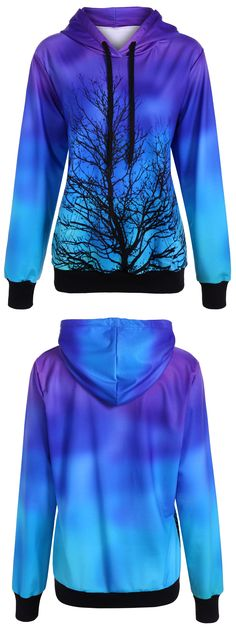 $23.61 Ombre Color Tree Pullover Hoodie