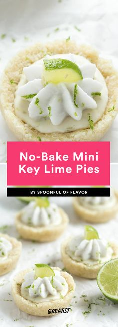 6. No-Bake Mini Key Lime Pies #greatist https://greatist.com/eat/mini-desserts-for-a-little-something-sweet