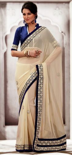 USD 102.23 Ivory Chiffon Lace Work Party Wear Saree   33658