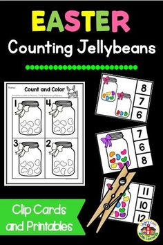 Practice preschool counting and number recognition from with these Easter jellybean count and clip cards along with NO-PREP NUMBER SENSE PRINTABLES. Perfect for an Easter math center or quiet-time activity! Easter Activities For Preschool, Quiet Time Activities, Learning Activities, Number Recognition, Little Learners, Number Sense, Jelly Beans, Counting, Card Making