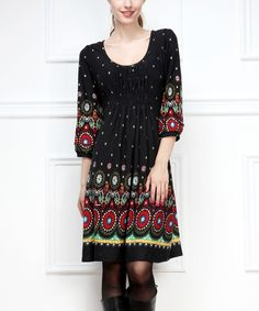 Black Paisley Ruched Scoop Neck Dress - Women