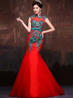 8883229f32 Mandarin collar red mermaid gown with green 3D floral details