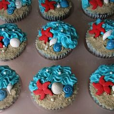 Image Search Results for beach cupcakes Beach Wedding Cupcakes, Beach Theme Cupcakes, Sea Cupcakes, Themed Cupcakes, Wedding Cakes, Hawiian Cupcakes, Summer Cupcakes, Birthday Cupcakes, Cupcake Wars