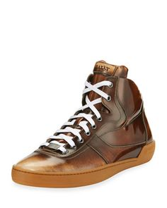 Eroy+Burnished+Leather+Mid-Top+Sneaker,+Cuir+(Brown)+by+Bally+at+Neiman+Marcus.