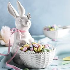 Ceramic Sculptural Bunny Bowl with Butterfly