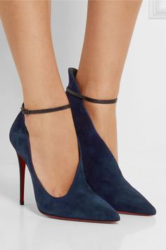 Christian Louboutin | Vampydoly 100 suede pumps | The flattering asymmetric silhouette of Christian Louboutin's 'Vampydoly' pumps is inspired by '40s styles. Crafted in Italy from storm-blue suede, this pair has a leg-lengthening curved vamp and sharp pointed toe. Pair yours with a pencil skirt.