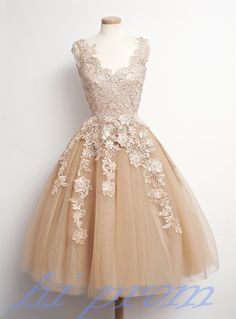 Prom Gown,Homecoming Dress,Lace Homecoming Dresses,Knee Length Prom Gown,Champagne