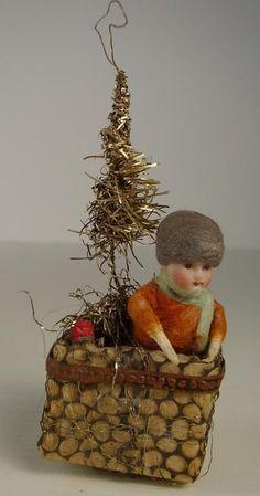Spun cotton antique Christmas ornament, with porcelain head | Rare Antique Christmas tree ornament circa 1900 |