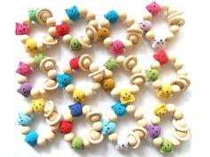 Biologische tandjes speelgoed wit roze paars haak Bijtring