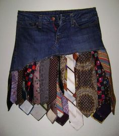 jeans and ties upcycle skirt Yes, because we all enjoy looking like a ragamuffin with ties flopping around our knees.