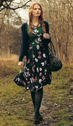 floral dress and cardi.  Laura Ashley