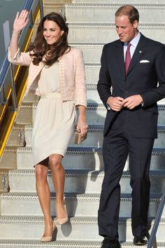 JULY 3 2011 - The Duke and Duchess of Cambridge arrived in Charlottetown on Prince Edward Island - with Catherine wearing a Joseph dress, Rupert Sanderson shoes and Links of London earrings.