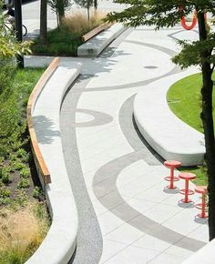 Paving pattern, stools, seating #urbanlandscapearchitecture