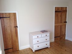 Upcycled drawer unit, victorian floorboards and oak ledged doors Solid Oak Doors, Fitted Wardrobes, Drawer Unit, Dresser As Nightstand, Wardrobe Ideas, Drawers, Victorian, Flooring, Bedroom