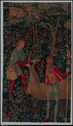 Rewarding the Hounds (From Incidents in a Stag Hunt) Date: ca. 1495–1515 Culture: South Netherlandish Medium: Wool warp, wool wefts Dimensions: Overall: 98 x 78in. (248.9 x 198.1cm) Classification: Textiles-Tapestries
