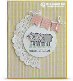 "I don't know why this card makes me want to start singing ""Mary had a little lamb"". Oh wait, yes I do, it's the stinkin' cute ""Welcome Little Lamb""! Adorbs!! Such a cute baby card from the Stampin Up Barnyard Babies stamp set. The lambs are colored with blender pens and ink pads."