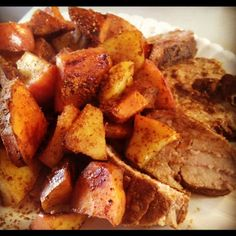Sweet Potato and Cinnamon Apple Hash.  Perfect side dish for pork or for breakfast.  Paleo, eat clean,