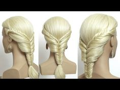 Easy hairstyle for long medium hair tutorial step by step My other channels with hairstyles Music Smells Like Summer Original Easy Everyday Hairstyles, Cute Simple Hairstyles, Easy Hairstyles For Long Hair, Retro Hairstyles, Winter Hairstyles, Braids For Long Hair, Messy Hairstyles, Easy Fishtail Braid, Fishtail Braid Hairstyles