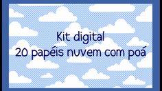 Kit digital papeis de fundo nuvem com poá