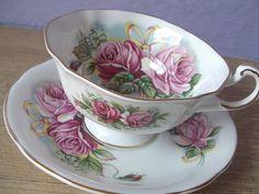 vintage pink roses tea cup and saucer set Royal by ShoponSherman, $39.00