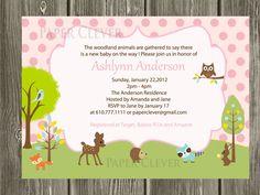 Girls Pink baby shower invitation or Birthday Invitation - woodland theme, digital file, printable