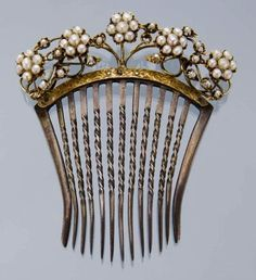 Antique Hair Comb with Pearls