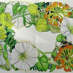 The Flower Year by Leila Duly, bindweed, evening primrose and honeysuckle, using prismacolors.#thefloweryearcoloringbook #thefloweryear #leiladuly #honeysuckle#eveningprimrose#bindweed#flowers#adultcoloring #colouringbook