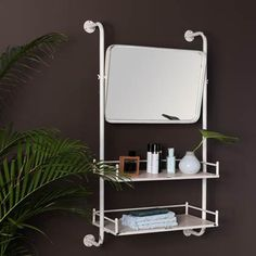 Buy Dutchbone Barber Mirror Wall Shelf online with Houseology's Price Promise. Full Dutchbone collection with UK & International shipping. Wall Mirror With Shelf, Wall Shelves, Shelving, Etagere Design, Cosy Sofa, Style Loft, Iron Shelf, Rustic Mirrors, Style Deco