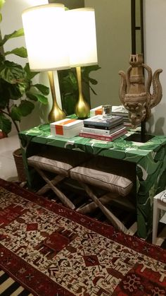Design your own custom built, custom upholstered waterfall-style console table with ANY fabric. Check out the table we made in the Dorothy Draper
