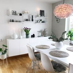 The gorgeous dining room of @interior_by_nina. Vita Eos light shade,String Pocket shelf and Menu Wire plant pot and stand are all available at www.istome.co.uk