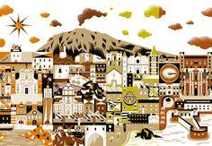 Sabadì – I Torroni packaging featuring Sicilian landmarks