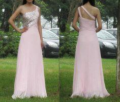 2017 Custom Charming Prom Dress,Chiffon Prom Dress,One-Shoulder Prom Dress,Sequined Prom Dress,A-Line Prom Dress