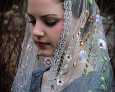 Evintage Veils~Ivory & Gold Embroidered Traditional Vintage Inspired Long D Shape Mantilla Chapel Veil Chapel Veil, Lace Wrap, Gold Lace, Close Up Photos, Floral Lace, Etsy Vintage, Wild Flowers, Vintage Inspired, Vintage Fashion