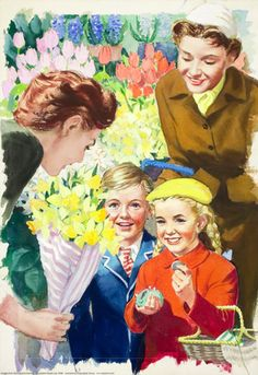 Inside florist - Shopping with Mother - Ladybird Books 1958