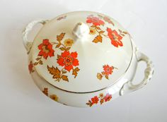 1930s Erphila Soup Tureen. Silesian Königszelt Germany. Christmas gift. Thanksgiving. Orange gold white. Fall autumn colors