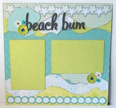 Beach Bum 1 Page 12x12 Premade Scrapbook by GLOwormpaperdesigns