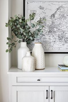 Large Black and White Map Art + White Vases + Eucalyptus Greenery + Styling a co. - Large Black and White Map Art + White Vases + Eucalyptus Greenery + Styling a counter Home Interior, Interior Decorating, Decorating With Vases, Interior Designing, Interior Colors, Decorating Coffee Tables, Cheap Decorating Ideas, Small Hallway Decorating, Loft Decorating