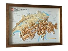Map of Switrzerland with raised relief and all satellite information. Created on UZLEX Vacuum Forming Machinery. 3d Poster, Vacuum Forming, Floor Care, Three Dimensional, Maps, Vacuums, Flooring, Create, Peta