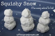 Squishy snow, also called clean mud, is easy to make, fun to play with, and NOT a mess to clean up.  All you need is a bar of Ivory soap, a roll of toilet paper, and 1-1.5 cups of hot water.