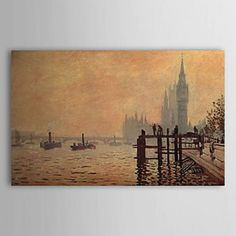 Hand-painted Oil Painting The Thames below Westminster by Claude Monet with Stretched Frame - OutletsArt.com