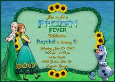 Frozen Fever Inspired Birthday Invitation, Frozen 2 Party Invite, Elsa and Anna Frozen Fever Invitation by AnnMarieDsgns on Etsy